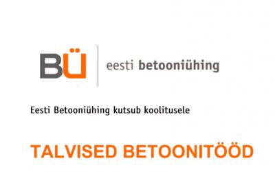 """KOOLITUS: """"Talvised Betoonitööd 05.12.2018"""""""