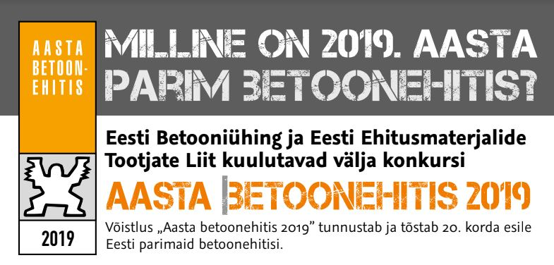"The competition ""Estonian Concrete Building of the Year 2019"" begins. What is the best Estonian concrete building in the year 2019?"